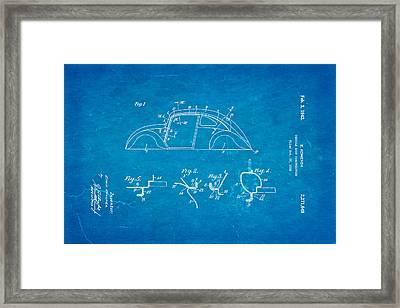 Komenda Vw Beetle Body Design Patent Art 1942 Blueprint Framed Print by Ian Monk