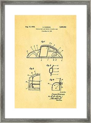 Komenda Vw Beetle Body Design Patent Art 1943 Framed Print by Ian Monk