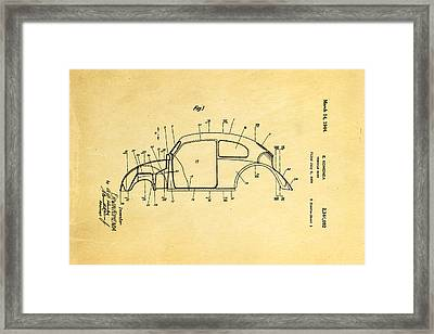 Komenda Vw Beetle Body Design Patent Art 1944 Framed Print by Ian Monk