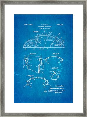 Komenda Vw Beetle Body Design Patent Art 1945 Blueprint Framed Print by Ian Monk
