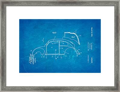 Komenda Vw Beetle Body Design Patent Art 2 1944 Blueprint Framed Print by Ian Monk