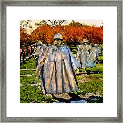 Korean War Veterans Memorial Sunset Framed Print by Bob and Nadine Johnston