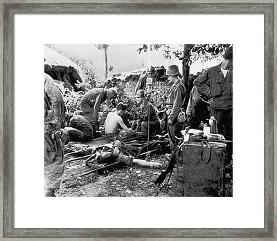 Korean War Wounded Framed Print by Underwood Archives