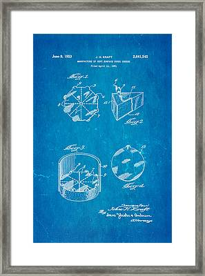 Kraft Cheese Triangle Patent Art 1951 Blueprint Framed Print by Ian Monk