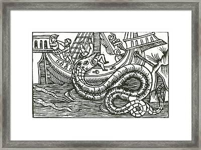 Kraken Attacking Ship, 16th Century Framed Print by Photo Researchers
