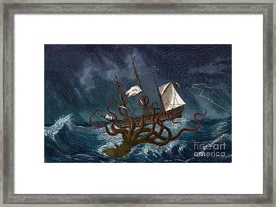 Kraken Attacking Ship, 1700 Framed Print by Science Source
