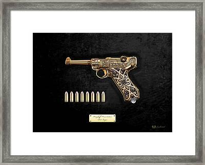 Krieghoff Presentation P.08 Luger With Ammo Over Black Velvet Framed Print by Serge Averbukh