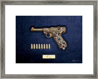 Krieghoff Presentation P.08 Luger With Ammo Over Blue Velvet  Framed Print by Serge Averbukh