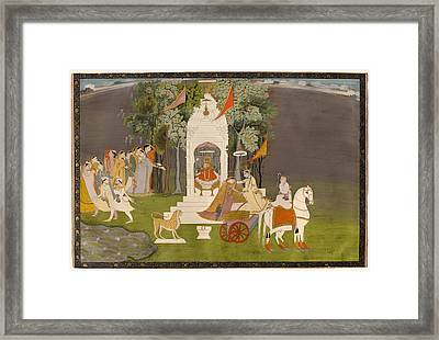 Krishna Abducting Rukmani From The Temple Framed Print by Mountain Dreams