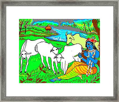 Krishna With Cows Framed Print by Anand Swaroop Manchiraju