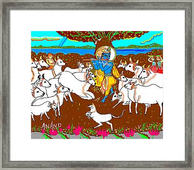 Krishna With The Herd Of Cows Framed Print by Anand Swaroop Manchiraju