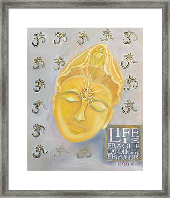 Kuan Yin With Quote Framed Print by To-Tam Gerwe