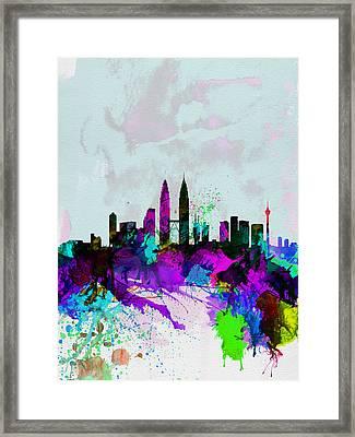 Kuala Lumpur Watercolor Skyline Framed Print by Naxart Studio