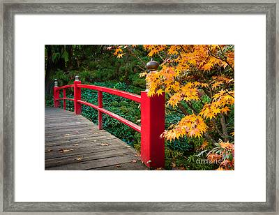 Kubota Gardens Bridge Railing Number 1 Framed Print by Inge Johnsson