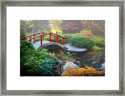 Kubota Gardens Fog Framed Print by Inge Johnsson