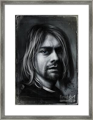 Kurt Cobain Framed Print by Andre Koekemoer