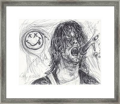 Kurt Cobain Framed Print by Michael Morgan