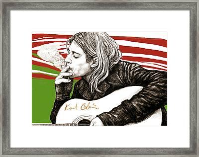 Kurt Cobain Morden Art Drawing Poster Framed Print by Kim Wang