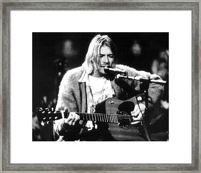 Kurt Cobain Singing And Playing Guitar Framed Print by Retro Images Archive