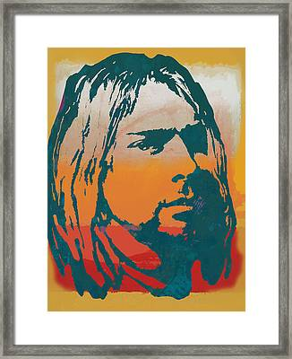 Kurt Cobain - Stylised Pop Art Poster Framed Print by Kim Wang