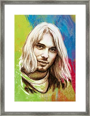 Kurt Cobain Stylised Pop Morden Art Drawing Sketch Portrait Framed Print by Kim Wang
