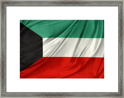 Kuwait Flag  Framed Print by Les Cunliffe