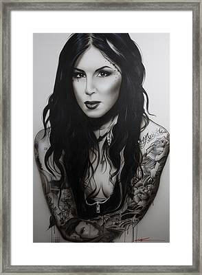 Kat Von D - ' K. V. D. II ' Framed Print by Christian Chapman Art