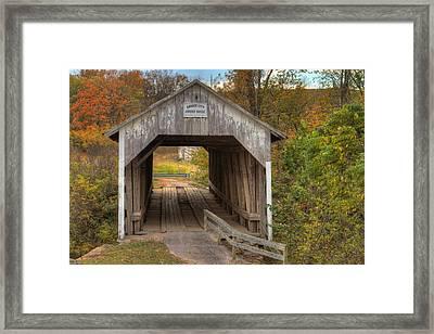 Ky Hillsboro Or Grange City Covered Bridge Framed Print by Jack R Perry