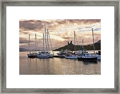 Kyleakin Harbor And Castle Moil Framed Print by Marcia Colelli