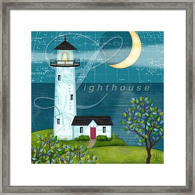 L Is For Lighthouse Framed Print by Valerie Drake Lesiak