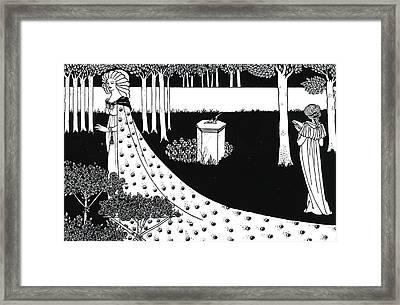 La Beale Isoud At Joyous Gard Framed Print by Aubrey Beardsley