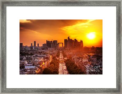 La Defense And Champs Elysees At Sunset Framed Print by Michal Bednarek