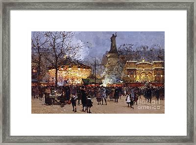 La Fete Place De La Republique Paris Framed Print by Eugene Galien-Laloue