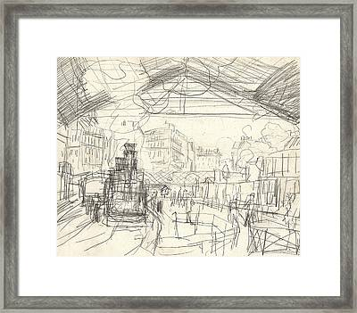 La Gare Saint Lazare Framed Print by Claude Monet