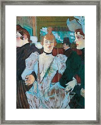 La Goulue Arriving At Moulin Rouge With Two Women Framed Print by Henri de Toulouse Lautrec