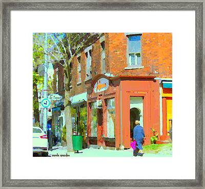 La Hacienda Resto Rue De L'epee Et Van Horne Outremont Montreal Spring City Scene Carole Spandau Framed Print by Carole Spandau