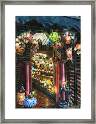 La Lamparareia En La Noche Albacin Granada Framed Print by Richard Harpum