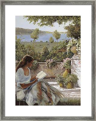 La Lettura All'ombra Framed Print by Guido Borelli
