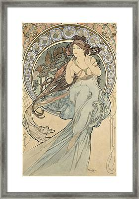 La Musique, 1898 Watercolour On Card Framed Print by Alphonse Marie Mucha