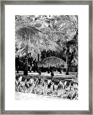 La Palapa Vertical Irfrared Framed Print by Heather Kirk
