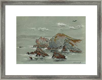 La Penyona Seascape Framed Print by Juan  Bosco
