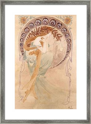 La Poesie,  Watercolour On Paper Framed Print by Alphonse Marie Mucha
