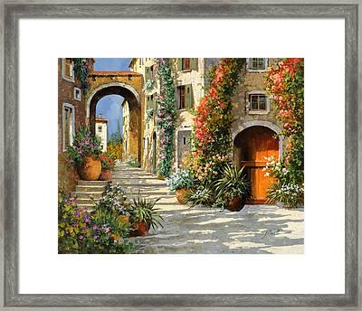 La Porta Rossa Sulla Salita Framed Print by Guido Borelli