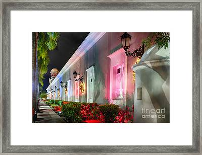 La Princesa Building At Night Framed Print by George Oze
