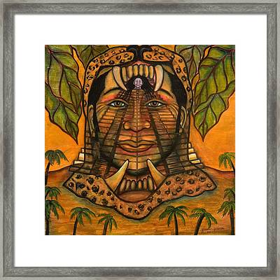 La Reina De Los Jaguares Framed Print by Yovannah Diovanti