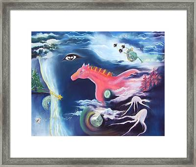 La Reverie Du Cheval Rose Or Dream Quest Of The Pink Horse. Framed Print by Marie-Claire Dole