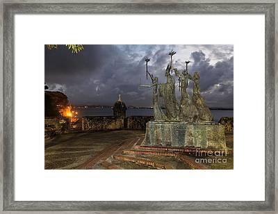 La Rogativa Plaza At Night Framed Print by George Oze