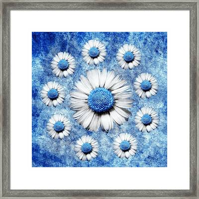 La Ronde Des Marguerites - Blue V05 Framed Print by Variance Collections