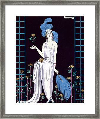 'la Roseraie' Fashion Design For An Evening Dress By The House Of Worth Framed Print by Georges Barbier