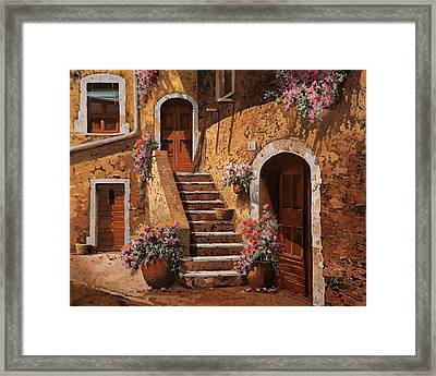 La Scalinata In Cortile Framed Print by Guido Borelli
